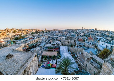 View of the Old City Jerusalem from the walls in the evening, Israel