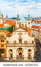 View of old city with Klementinum, Prague, Czech Republic