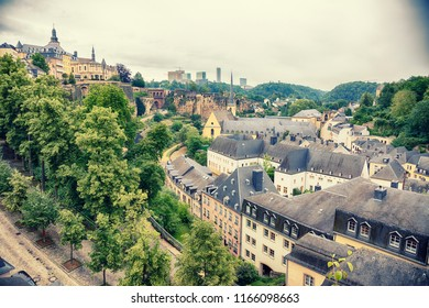 view at old city Luxembourg from above