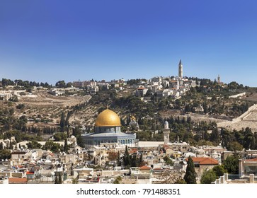 View of the old city, the mosque of the Rock (Omar), the temple mount, the mount of olives. Jerusalem, Israel