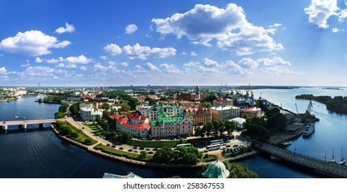 View of the Old City from the observation deck of the Vyborg Castle