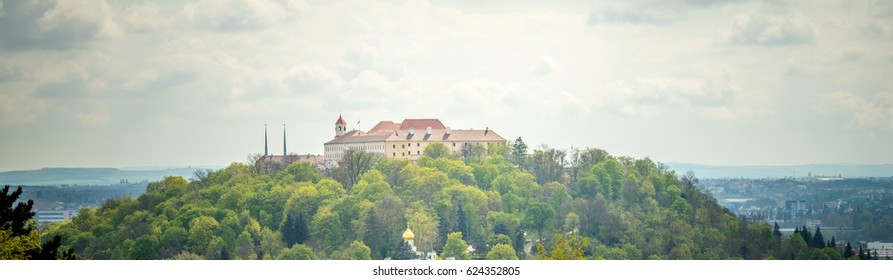 View of the old city. Panorama with castle. Brno Czech Republic.
