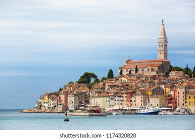 View of the Old City Peninsula of Rovinj, Croatia, with the Church of St Euphemia