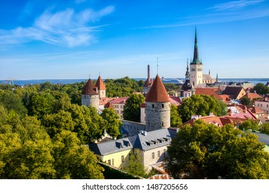 View of the Old City of Tallinn, Estonia, with City Wall Towers and St Olaf's Church, as Seen from Toompea