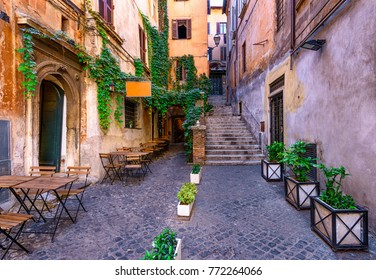 View of old cozy street in Rome, Italy. Architecture and landmark of Rome. Postcard of Rome