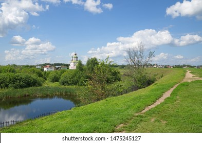 View from the old defensive rampart of the Church of Elijah the Prophet on Ivanova mountain and the river Kamenka. Suzdal, Vladimir region, Russia