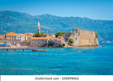 View of old district of Budva from the sea, Montenegro