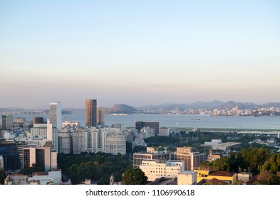 View to old districts of Rio de Janeiro at the sunset