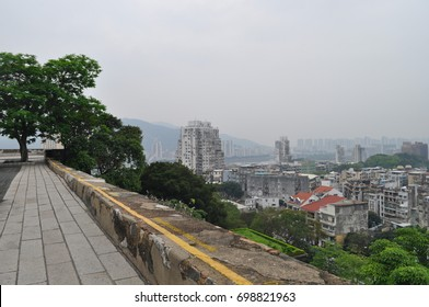 View of the old downtown city from atop of Macau museum