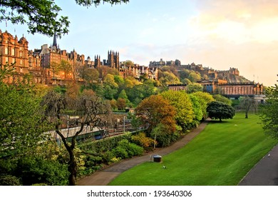 View of old Edinburgh, Scotland at sunset from Princes Street Gardens