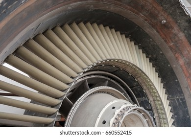 View of old engine of airplane. Shallow depth of field.