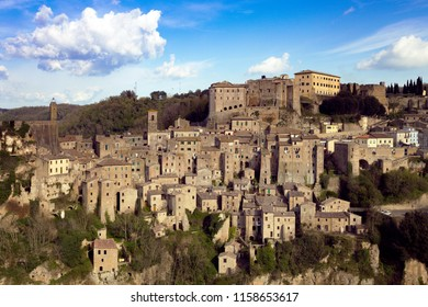 view at the old  famous tuff city of Sorano, province of Siena. Tuscany, Italy