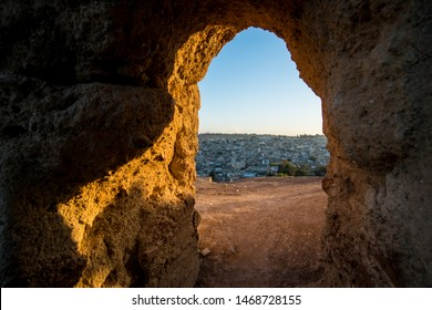 View of old Fez through old castle entrance