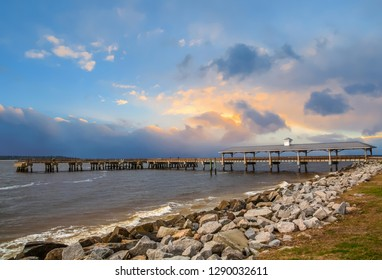 A view of the old fishing pier on St Simons Island, Georgia