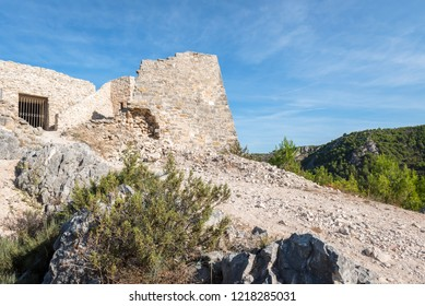 View of the old fortress towering over the town of Skradin, Croatia