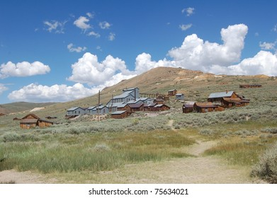 view of old gold mine in bodie ghost town, california