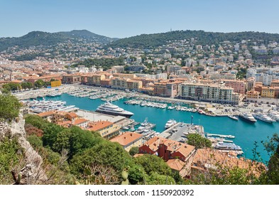 View of old harbor of Nice at the Cote Azur in South France