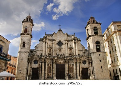 A view of Old Havana Cathedral, cuban landmark