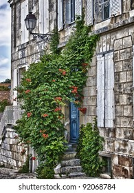 View of old house in la rochelle France