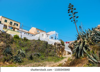 View to old houses on Atlantic coast. Peniche, Estremadura, Portugal, Europe