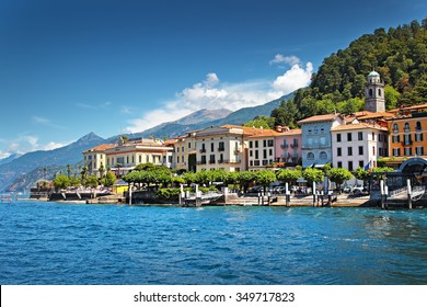 View of old Italian town at the coast of the lake, Bellagio, Como lake, Italy.