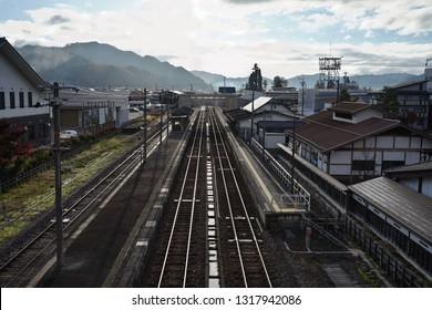 View of Old Japanese Railway Station of Hida Furukawa City, Gifu prefecture Japan.