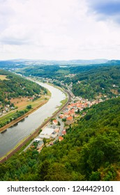 View from old Koenigstein castle down on river Elbe in Saxony, Germany