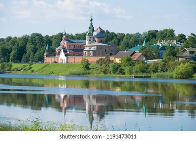 View of the Old Ladoga Nikolsky monastery in the July afternoon. Old Ladoga, Russia