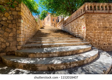 View of Old Mardin's ancient narrow street stairs in Mardin,Turkey