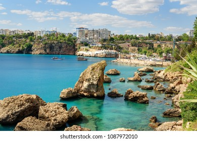 View of old Marina or port harbor Kaleici in Antalya. Turkey
