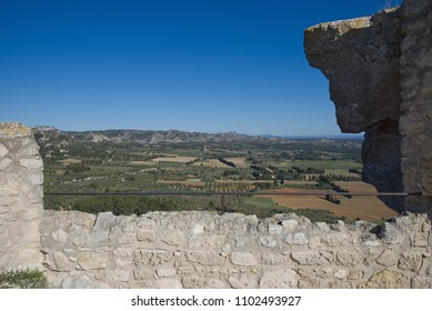 View from old medieval city on the rock formation in Les Baux de Provence - Camargue - France