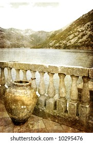 view from old montenegro island - picture in retro style