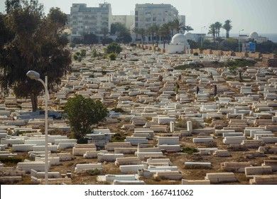 View of old muslim cemetery in Monastir, Tunisia, North Africa. View from the Ribat fortrees