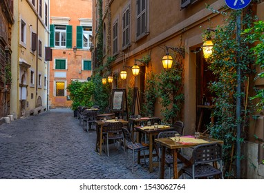 View of old narrow street in Rome, Italy. Architecture and landmark of Rome. Cozy cityscape of Rome.