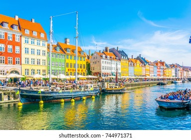 View of old Nyhavn port  in the central Copenhagen, Denmark.