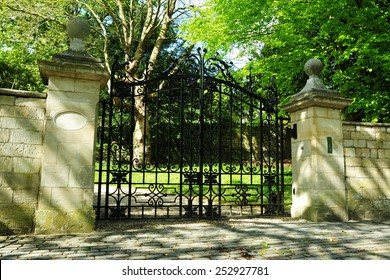 View of an Old Ornate Gateway to an English Country Estate