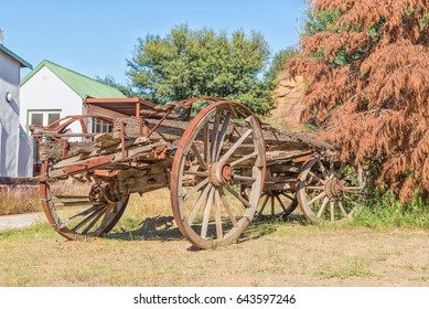 View of an old ox-wagon on display in Philippolis, the oldest town in the Free State Province