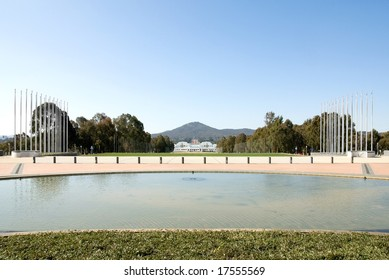 The view of Old Parliament House, the National War Memorial, and Mt Ainslie, from the front courtyard of Parliament House, Canberra, Australia