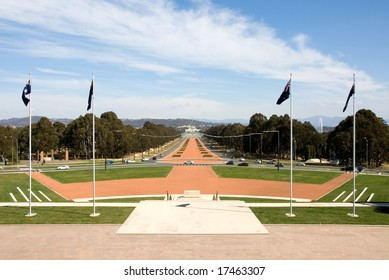 A view of Old Parliament House and New Parliament House, captured from the front of the National War Memorial, at the end of Anzac Avenue, Canberra, Australia