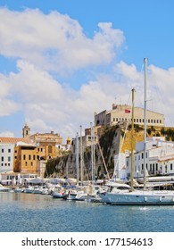 View of the old Port of Ciutadella on Menorca, Balearic Islands, Spain