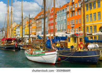View of the old port in Copenhagen in summer