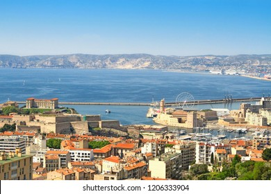 View at the old port of Marseille from the Basilica of Notre-Dame de la Garde (Our Lady of the Guard) in Marseilles, France
