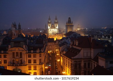 view of old prague from klementinum tower as nice night photo