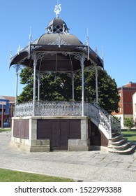 """View of an old public square bandstand with elaborate decorative details - """"Póvoa de Varzim"""", Portugal."""