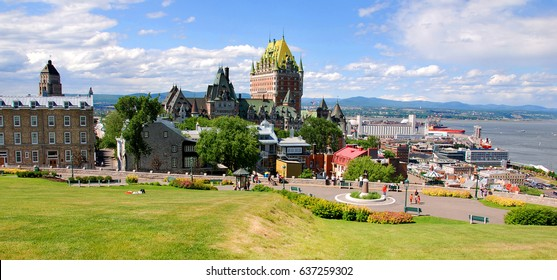 View of old Quebec and the Chateau Frontenac, Quebec, Canada. It was designated a National Historic Site of Canada during 1980. the site was the residence of the British governors of Lower Canada.