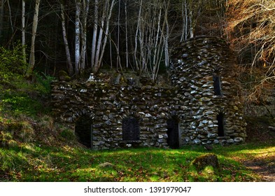 A view of an old ruined building among woodland at Kenmore in rural Perthshire.