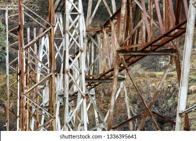 View of old rusty Hydro electric power station electrical switching yard equipment