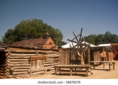 View of an old Spanish colonial village at Rancho de las Golondrinas, a living history museum at Santa Fe, New Mexico