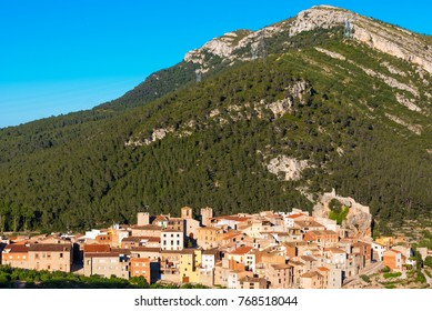 View of the old Spanish town in mountains and forest, Pratdip, Tarragona, Spain