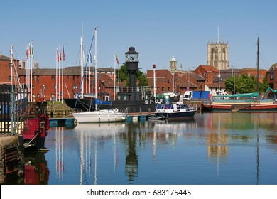 View of the old Spurn Lightship moored in marina. Kingston upon Hull, Humberside.